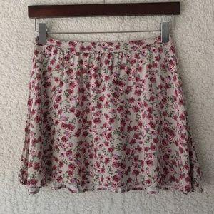 Wet Seal Floral Rayon Mini Skirt Sz S